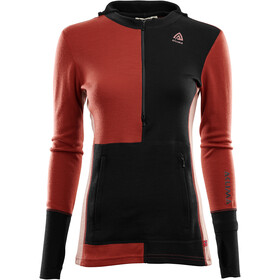 Aclima WarmWool Hood Sweater with Zip Women jet black/red ochre/cognac